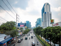 The Street Ratchada. On December 25, 2015 in Bangkok, Thailand. The Street Ratchada is a Center of Bussiness and Market, Among the many skyscrapers Stock Image