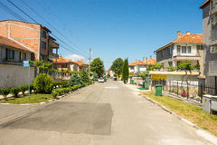 Street in Ravda, Bulgaria. Ravda - ancient Bulgarian seaside town famous discoveries of ancient Slavic settlements. Located on the past in the Black Sea stock photo