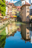 Street reflection in river Thiou  - Annecy, France. ANNECY,FRANCE - SEPTEMBER 2,2016 - Street reflection in river Thiou  of Annecy. Annecy is the largest city of Royalty Free Stock Photos
