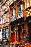 Street in Rennes. Old medieval half-timbered houses in Rennes, France Stock Images