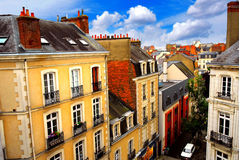 Street in Rennes. Street with colorful houses in Rennes, France, top view Royalty Free Stock Photography