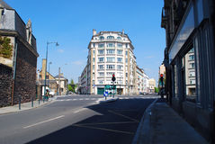 Street in Rennes. Cross-road in Rennes with building in the middle in France royalty free stock photo