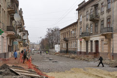 Street repairing in Lviv, Ukraine Stock Photography