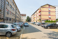 A street in a residential area of the city of Leskovac, Serbia Royalty Free Stock Image