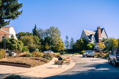 Street in the residential area of Oakland. On a sunny autumn day, San Francisco bay area, California Royalty Free Stock Photography