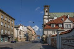 District Kazimierz in Krakow. Street with residential buildings in the Kazimierz district in Krakow Royalty Free Stock Photo