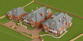 Street residential cottage, homes, top view Stock Photos