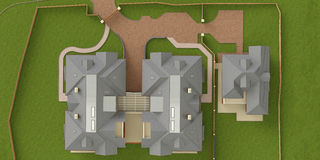 Street residential cottage, homes, top view Stock Image