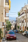 Street with residential houses Chania Stock Photo
