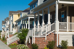 Street of residential houses with porches Royalty Free Stock Images