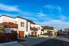 Street of residential modern houses stock photos