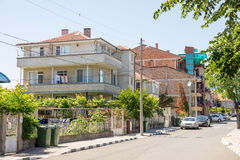 Street in the resort village of Ravda in Bulgaria. Ravda - ancient Bulgarian seaside town famous discoveries of ancient Slavic settlements. Located on the past royalty free stock photography