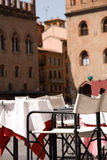 Street Restaurant. On a sunny day in Bologna, Italy Royalty Free Stock Image