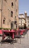 Street Restaurant. On a sunny day in Bologna, Italy Stock Photos