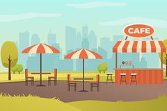Street Restaurant or Bar in City Park Vector royalty free illustration