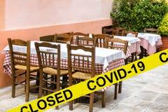 Street restaurant or cafe closed due to COVID-19 coronavirus disease. SARS-CoV-2 corona virus outbreak, countries impose