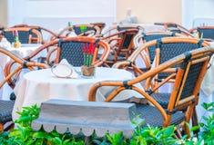 Street restaurant on Capri Island. Italy stock photo