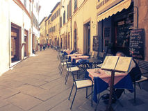 Street restaurant in Cortona, Italy royalty free stock images