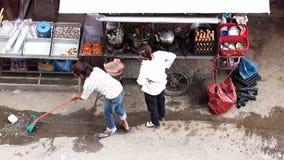 Street restaurant in downtown Phnom Penh. Cambodia stock video