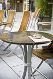 Street restaurant marble table Royalty Free Stock Photography