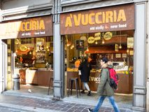 Street restaurant with sicilian food in Pavia stock images