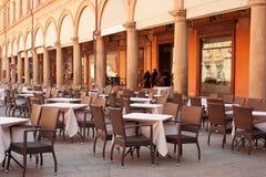 Street Restaurant in Bologna, Italy. Street Restaurant on a sunny day in Bologna, Italy Stock Photos