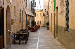 Street with restaurants. Empty street with restaurants, Mallorca Stock Images