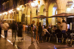 Street with restaurants in evening. Logrono Royalty Free Stock Photos