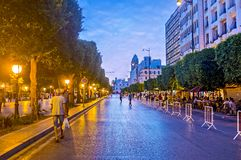 Street restaurants in Habib Bourguiba Avenue in Tunis Royalty Free Stock Images