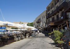 Street with restaurants in Kyrenia, Cyprus Stock Photo