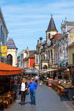 Street with restaurants in the old town of Valkenburg aan de Geul, Netherlands Stock Photos