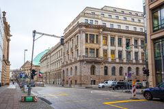 19.01.2018 - Street and Restored houses in Berlin, Germany.  Royalty Free Stock Photography