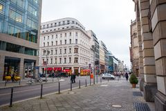 19.01.2018 - Street and Restored houses in Berlin, Germany.  Royalty Free Stock Image