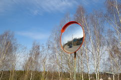 Street the review mirror on the road Stock Photography