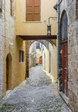 Street in Rhodes old town, Greece Stock Image
