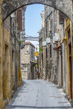 Street in Rhodes old town, Greece Royalty Free Stock Images