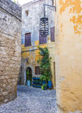 Street in Rhodes old town, Greece Royalty Free Stock Image