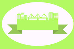 Street on the ribbon. Green street with a bridge on the ribbon Stock Photo