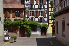 The street of Ribeauvillé village. Wine road of Alsace. Eastern France. Alsace region. A beautiful village named Ribeauville on the famose Wine road. It has Stock Photography