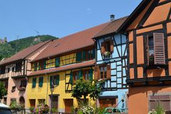 The street of Ribeauvillé village. Wine road of Alsace. Eastern France. Alsace region. A beautiful village named Ribeauville on the famose Wine road. It has Stock Images