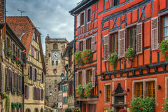 Street in Ribeauville, Alsace, France Stock Photo