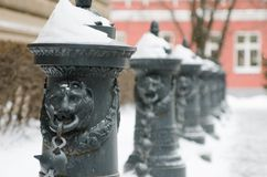 Street of Riga in snow day Royalty Free Stock Photography