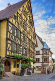Street in Riquewihr, Alsace, France Royalty Free Stock Photo