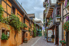 Street in Riquewihr, Alsace, France Stock Image