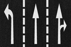 Street Road Arrows Direction on Asphalt Texture Royalty Free Stock Photography