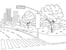 Street road graphic black white city landscape sketch illustration vector Stock Photo