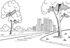 Street road graphic black white city landscape sketch illustration Stock Photography