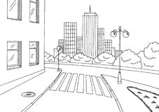 Street road graphic black white city landscape sketch illustration Stock Photo