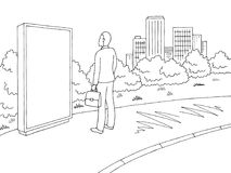 Street road graphic black white city landscape sketch illustration vector. Man standing and looking at billboard. Street road graphic black white city landscape Royalty Free Illustration