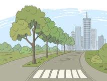 Street road graphic color city landscape sketch illustration vector stock illustration
